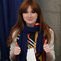 Bigger on the Inside shawl and actress Karen Gillan